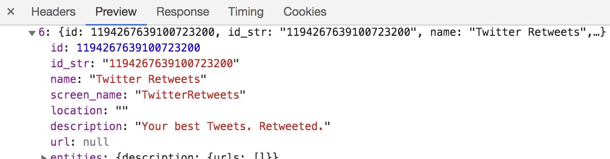 트위터가 Following하는 계정 중 하나.<br/>Id, name, screen_name 등의 프로필 정보를 상당히 디테일하게 가져온다.