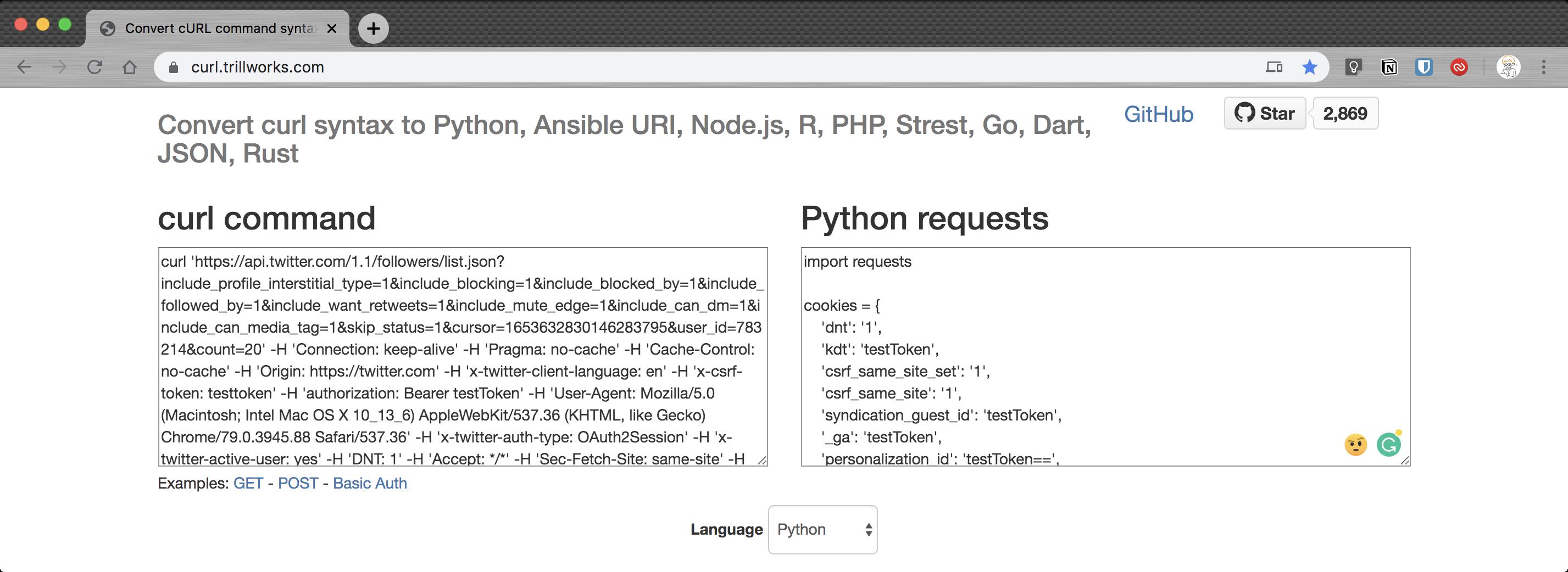 curl.trillworks.com에서는 cURL을 Python코드로 바꿔준다.