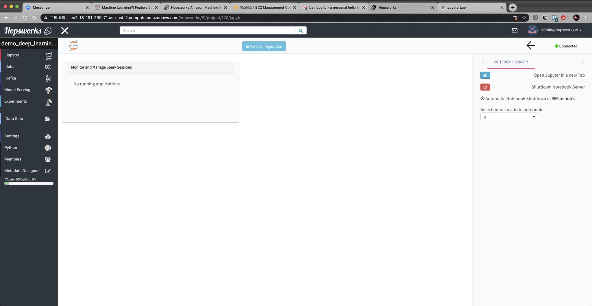 Sample Project에 들어온 모습. JupyterLab을 이용할 수 있다.