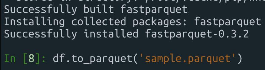 FastParquet 설치 성공 및 parquet파일 정상 저장