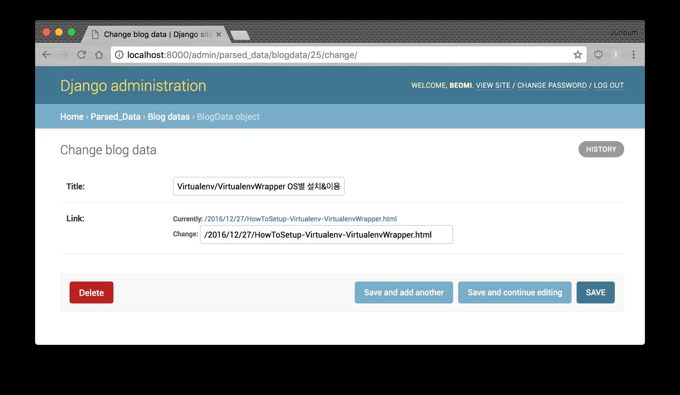 blogdata specific data